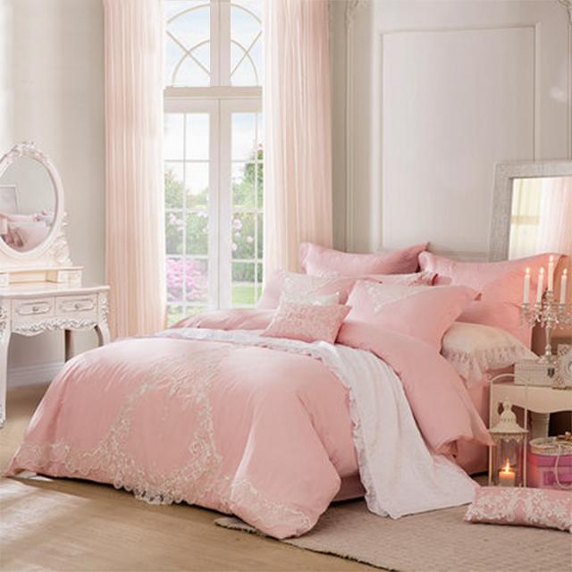 LOVO家纺罗莱生活出品双人床品全棉提花被套床单婚庆四件套