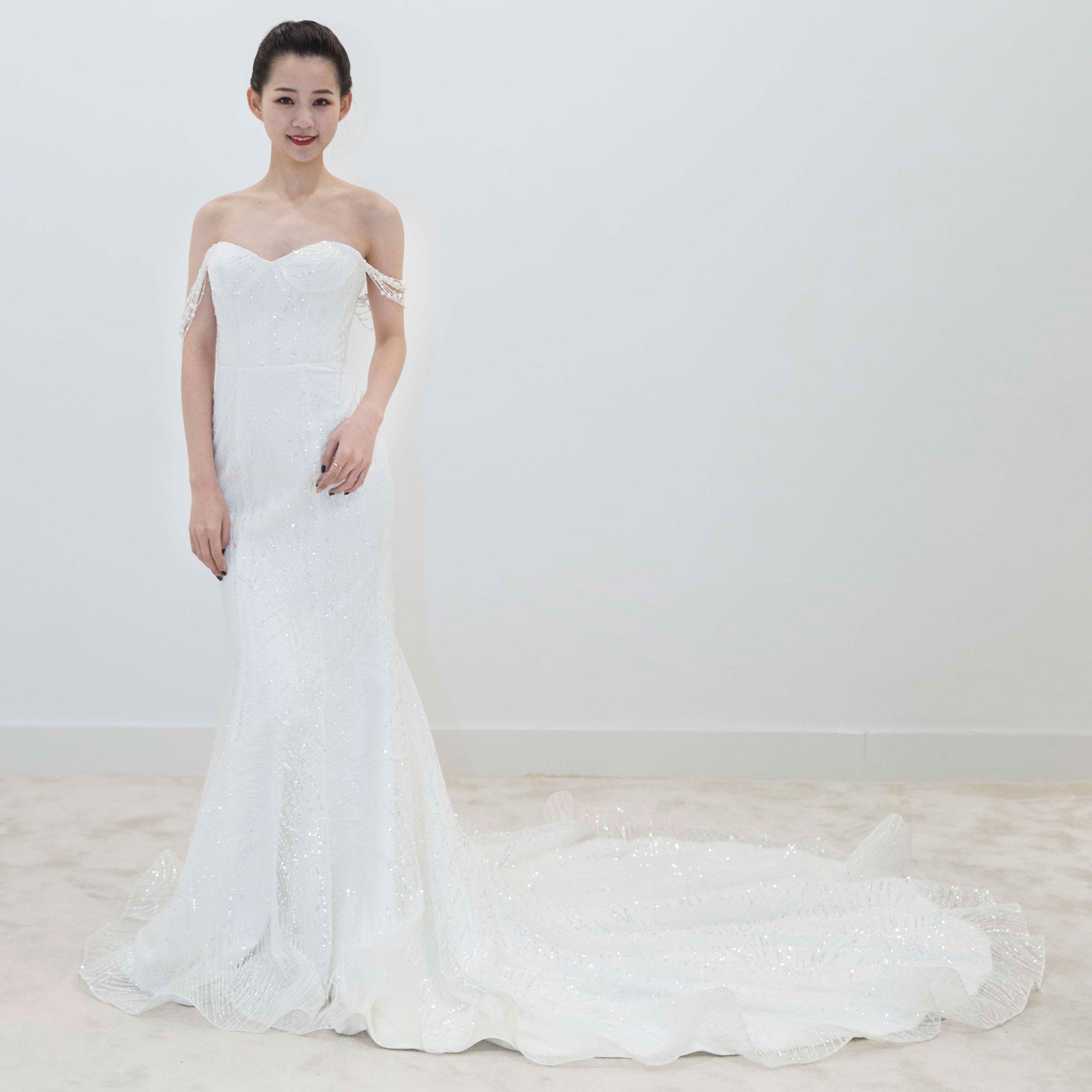 真爱殿堂 兰玉 抹胸 蕾丝 包身 亮片婚纱
