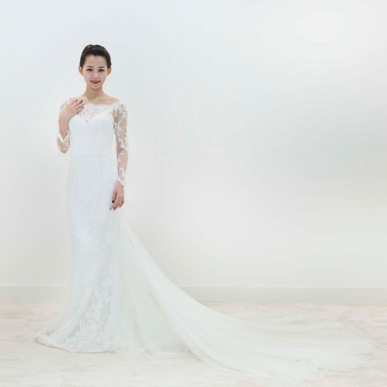 真爱殿堂 兰玉 一字肩 蕾丝 长袖大拖尾婚纱