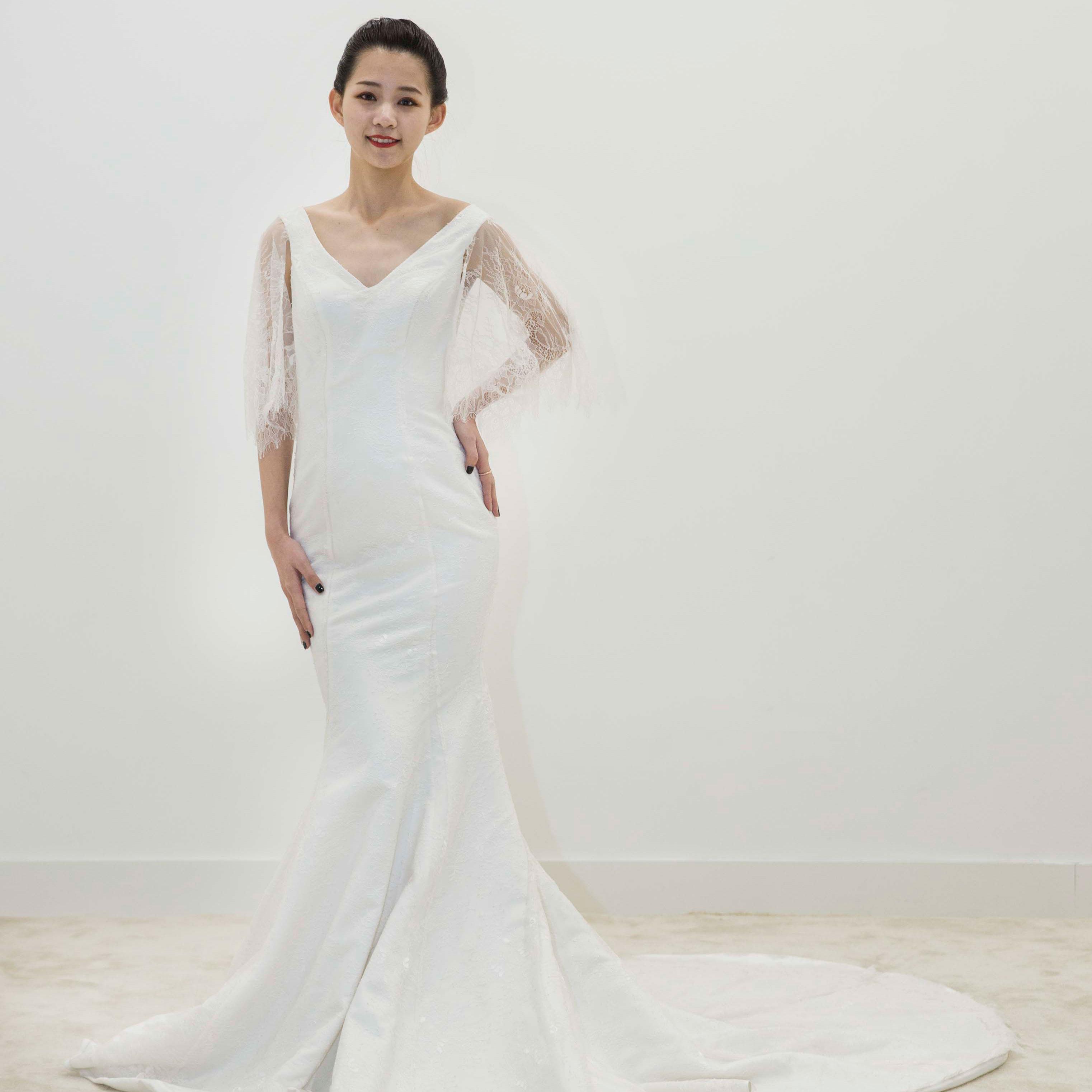 真爱殿堂 兰玉 V领  蕾丝 包身 拖尾婚纱