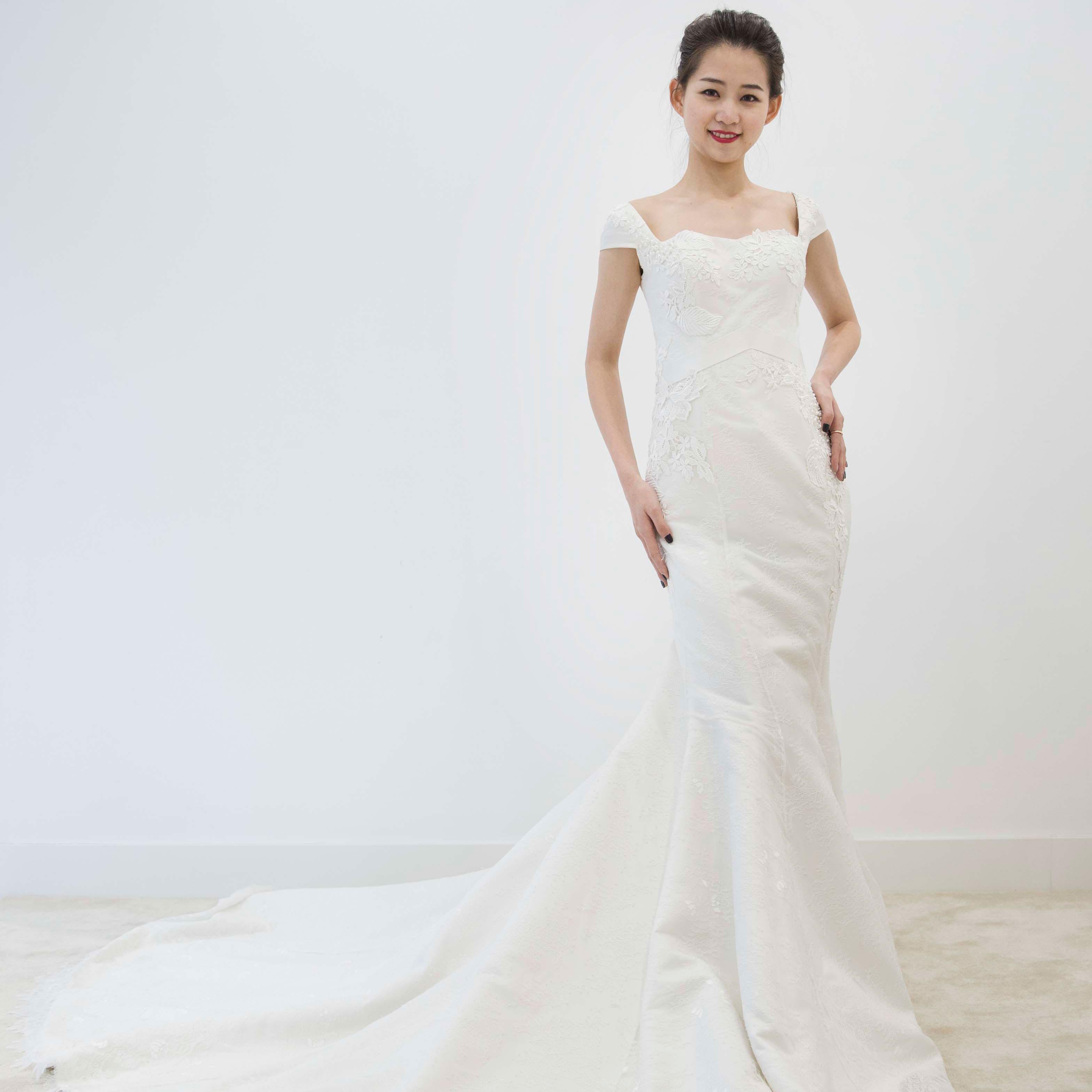 真爱殿堂 兰玉抹胸蕾丝包身拖尾婚纱