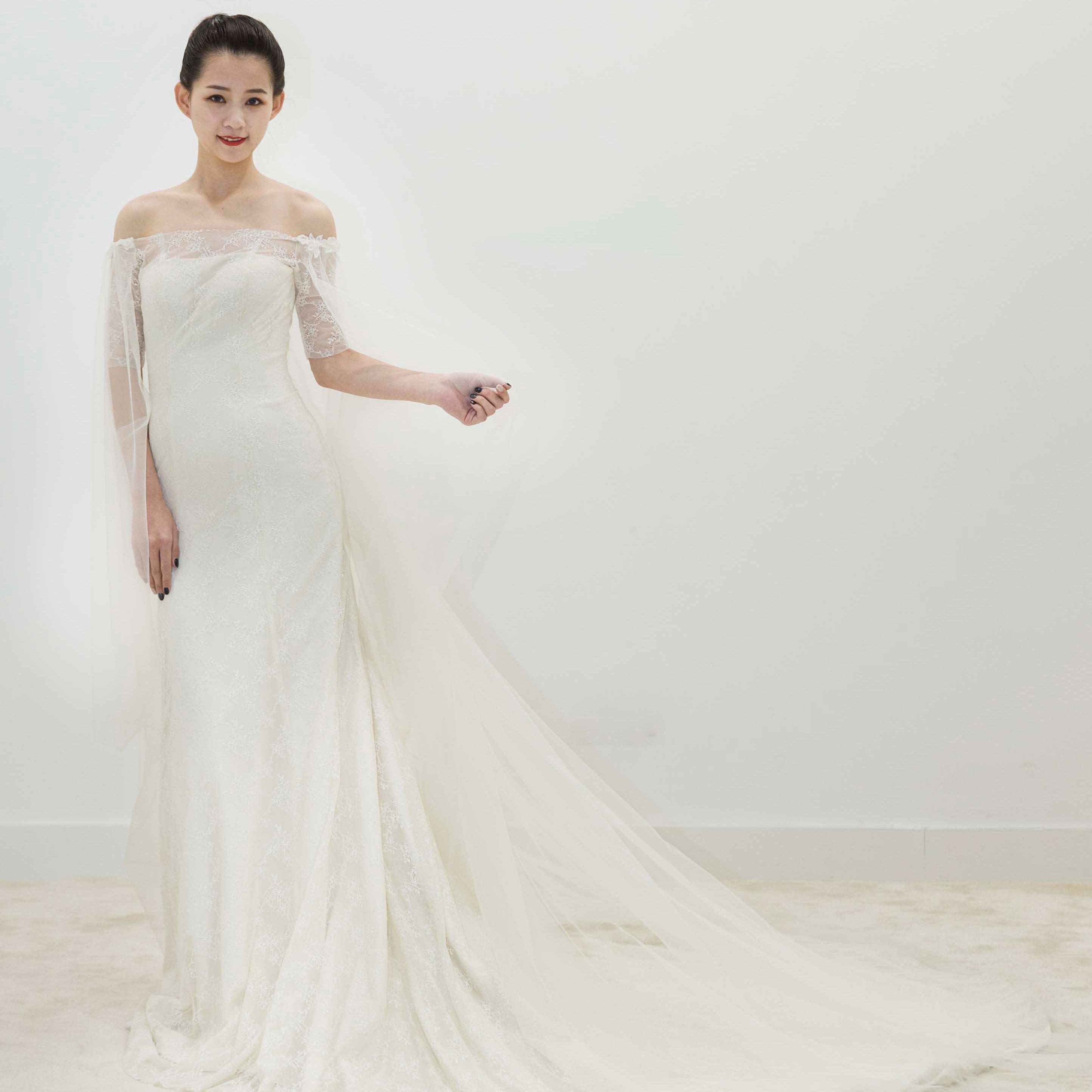 真爱殿堂 兰玉一字肩七分袖蕾丝拖尾婚纱