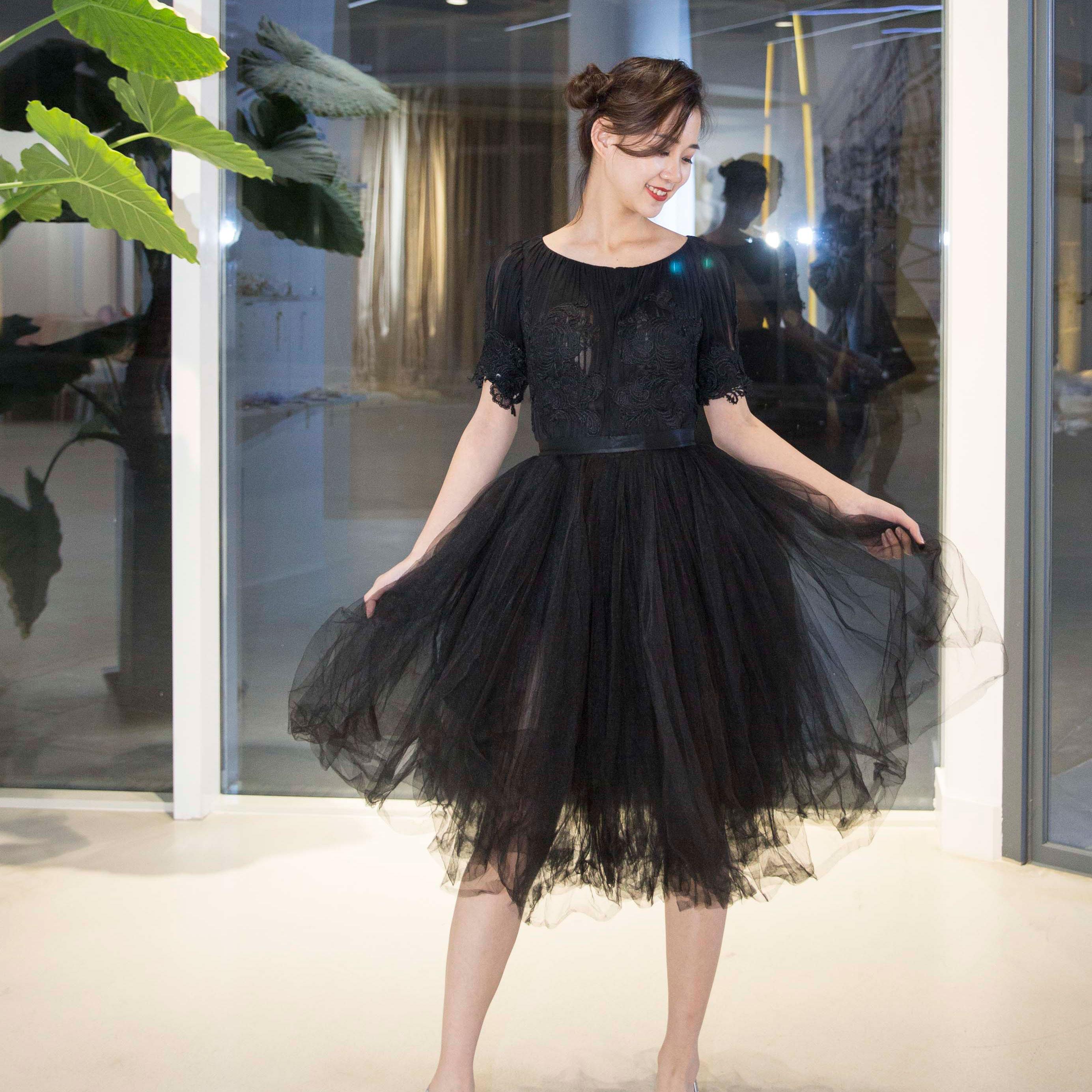 真爱殿堂 兰玉 黑色蕾丝短袖短款蓬蓬纱